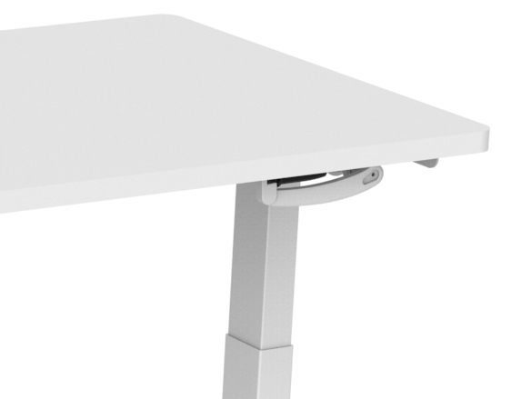 Manual Stand Desk White - White Top - close up retracted