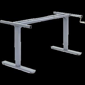 Manual crank adjustable height desk frame