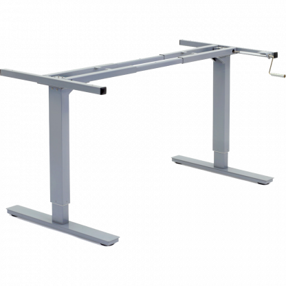 Manual crank adjustable height desk frame