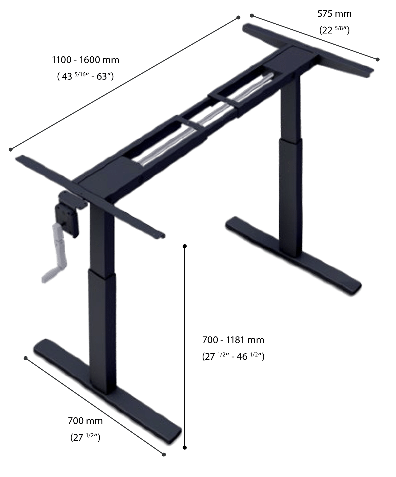 manual height adjustable desk frame