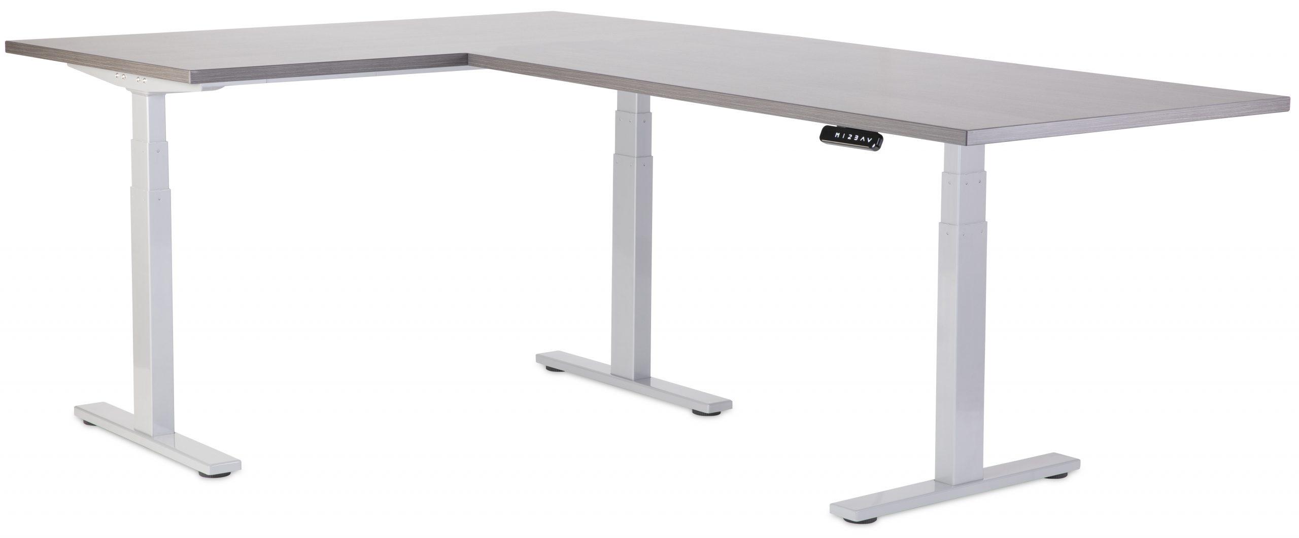 VFlex Standing Desk Grey with Grey Desktop Low Position