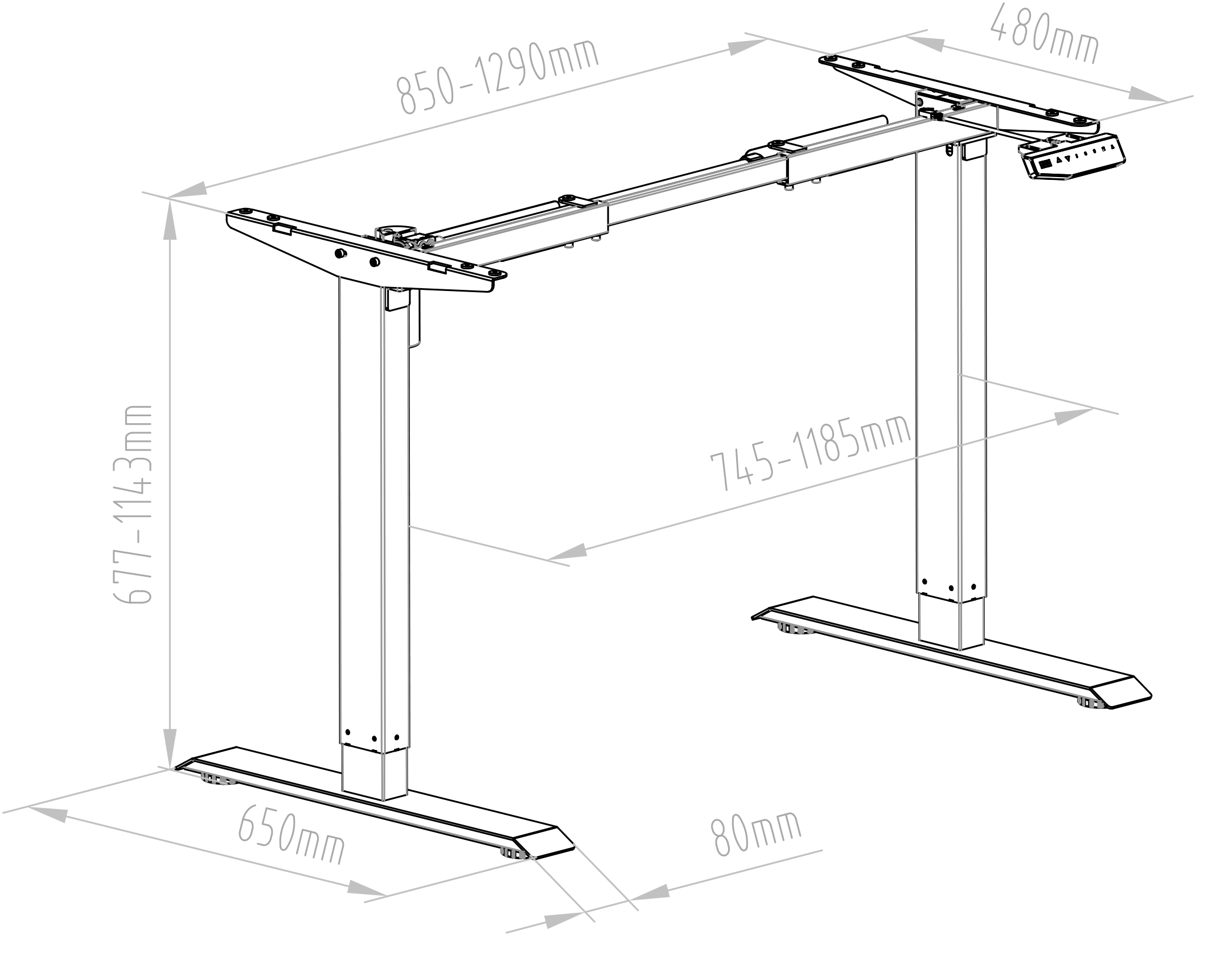 Element Stand Desk Tech Drawing