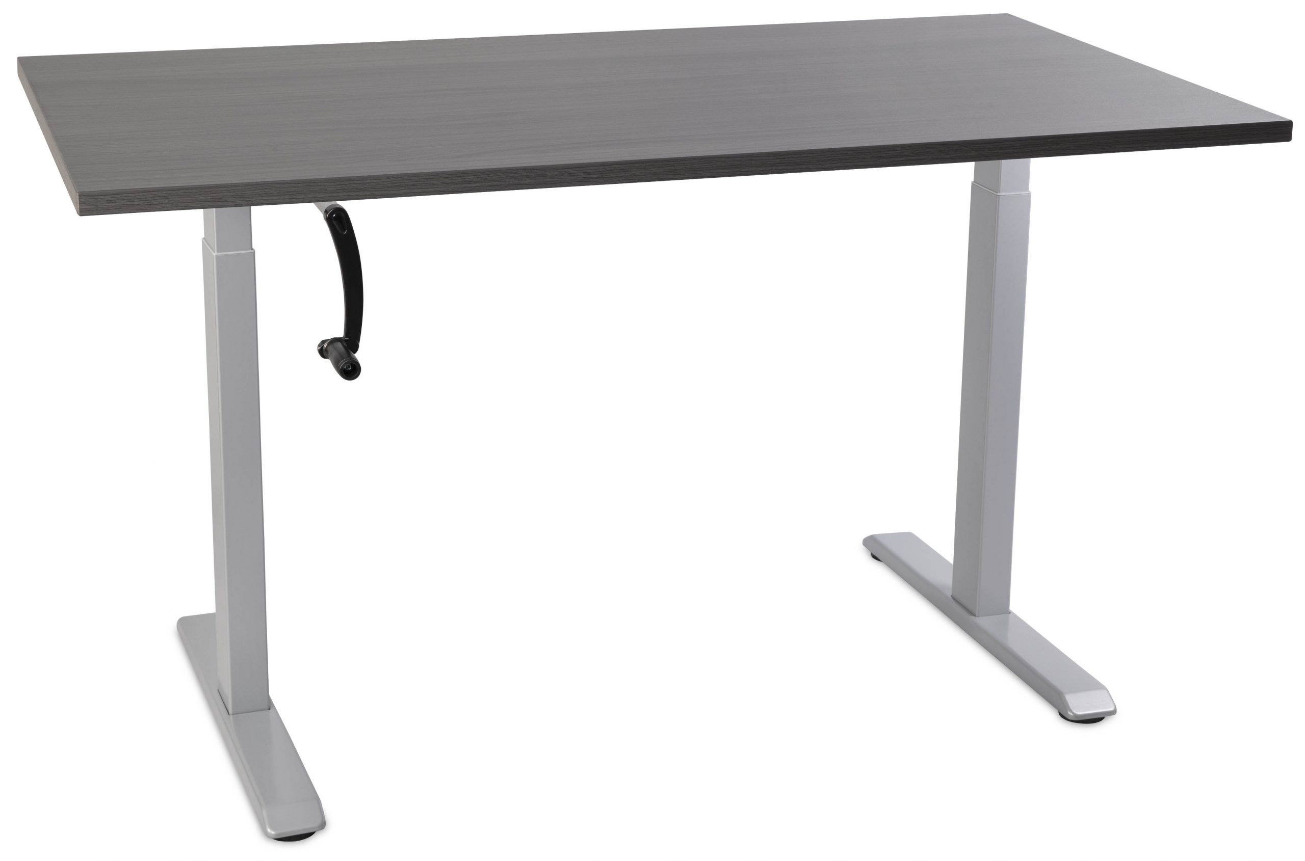Manual Standing Desk - Grey with Grey Top Alt