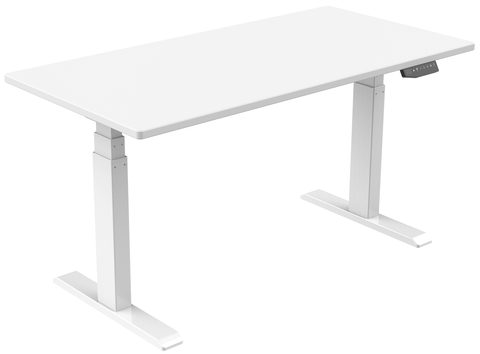 Vantage Stand Desk White Frame with White Desk Top