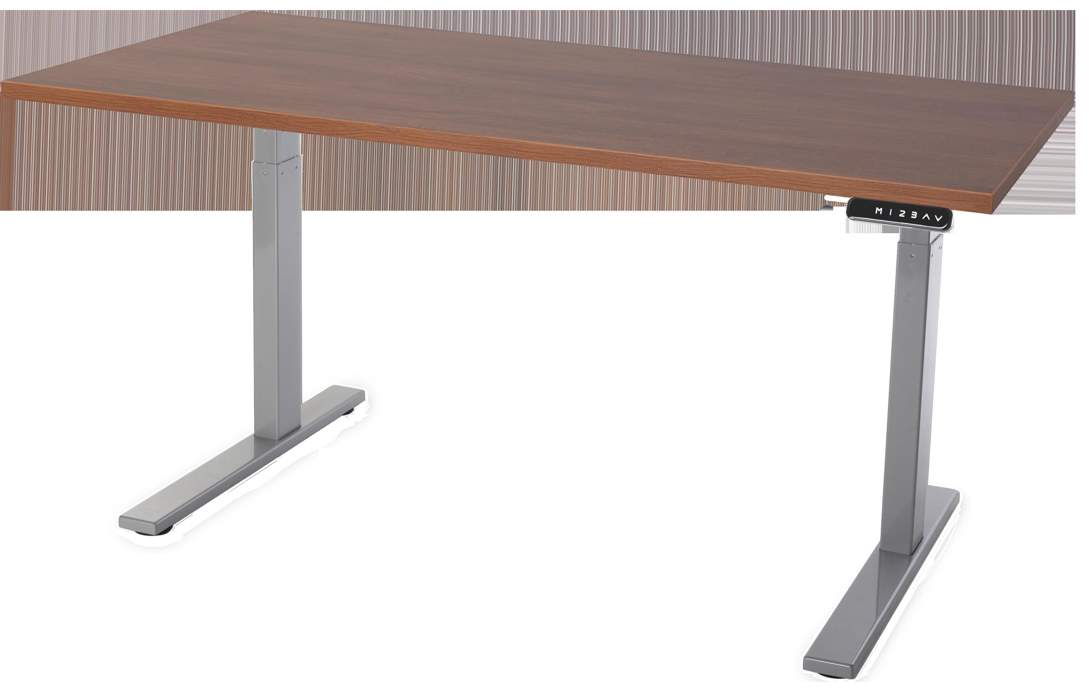 Empire C-Frame Grey with Walnut Desktop